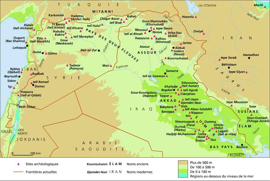 Carte de la Mésopotamie antique, Larousse